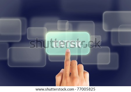 "gesture of hand finger pushing ""enter"" button - stock photo"