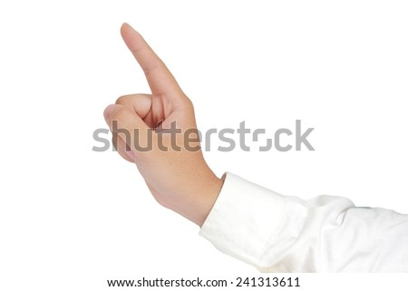 Gesture of hand from side view showing number one with fingers in formal long sleeved shirt isolated on white - stock photo