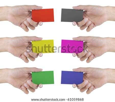 gesture of hand giving a card - stock photo