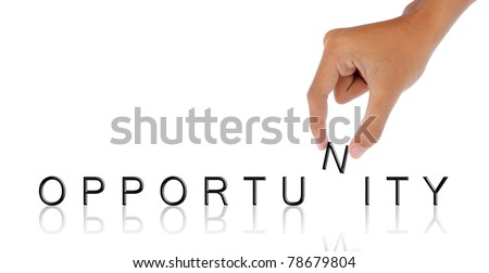 gesture of hand hold letter - stock photo