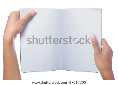 gesture of hand holding a blank magazine - stock photo