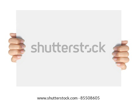 gesture of hand holding a blank white paper isolated over white background