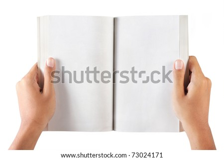 gesture of hand holding a book. isolated over white background - stock photo