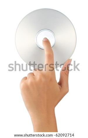 gesture of hand holding a compact disc - stock photo