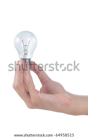 gesture of hand holding a light bulb - stock photo