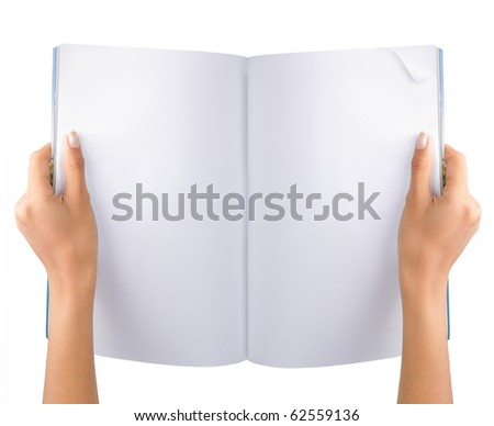 gesture of hand open the blank magazine - stock photo