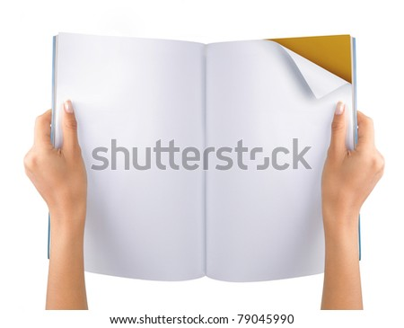 gesture of hand open the blank magazine. isolated over white background - stock photo