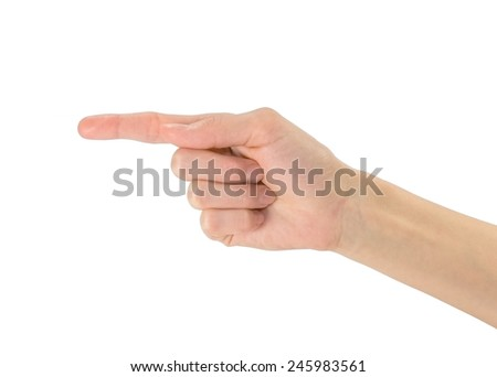 Gesture of hand pointing finger to the left on a white background - stock photo
