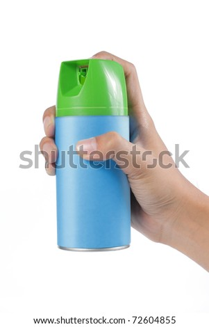 gesture of hand pushing spray can. isolated over white background - stock photo