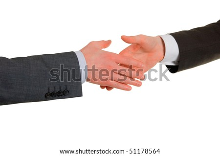 Gesture of hand shake of two men of businessmen in agreement