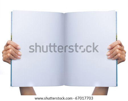 gesture of hand showing a white blank magazine - stock photo