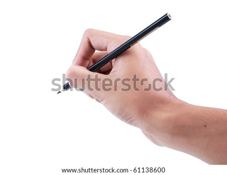 gesture of hand writing with pencil - stock photo