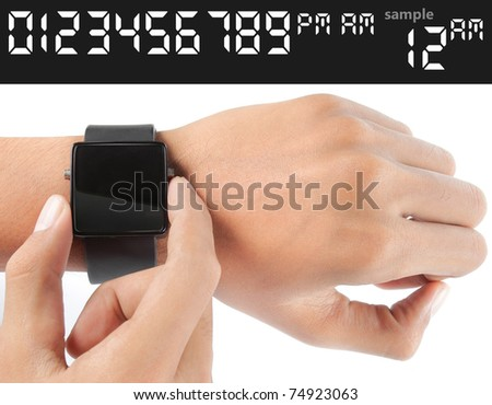 gesture of man hand looking into the watch. just select for your own time and put over the blank black glass - stock photo