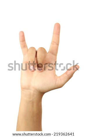 Gesture of the hand on white background