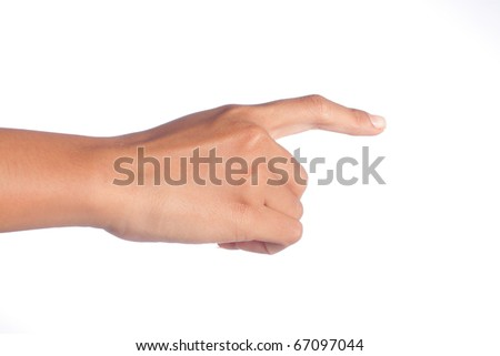 gesture of woman's hand touching something - stock photo