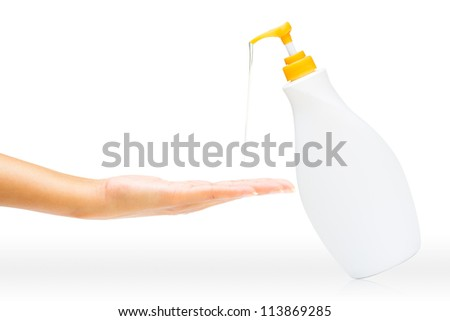 Gesture of womans hand using hand sanitizer, Isolated on white background - stock photo