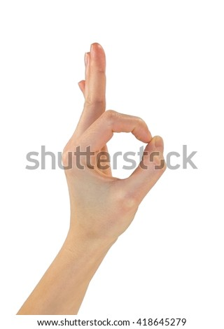 Gesture OK, good. Hand showing gesture well. Isolated on white background - stock photo