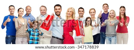 gesture, sale, shopping and people concept - group of smiling men, women and kids showing thumbs up - stock photo