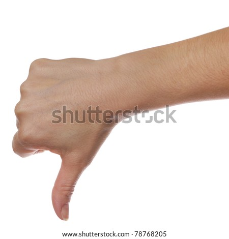 Gesture thumb down isolated over white background