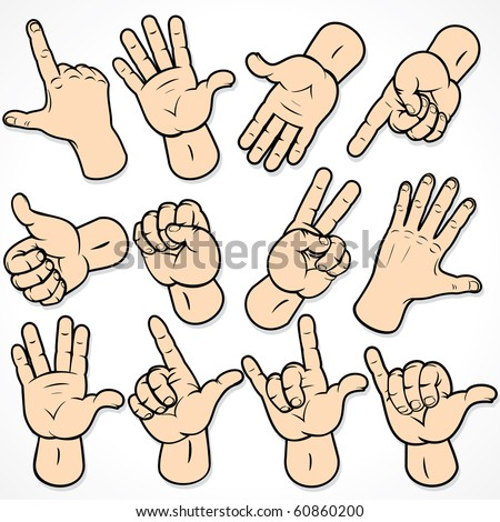 Gestures and signals -set of hands for your design - stock photo
