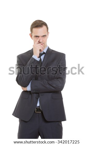 gestures distrust lies. body language. man in business suit isolated on white background. finger touching the nose. cards - stock photo
