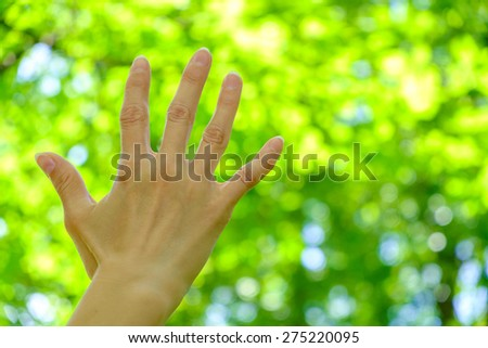 Gestures, number 5 in sign language - stock photo