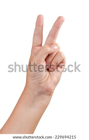 Gestures of children's hands isolated on white background