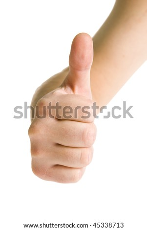 Gestures of hands - OK. Isolated on white background - stock photo