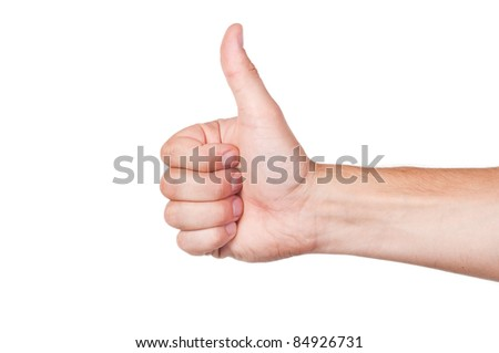 Gestures of hands - OK. Isolated on white background