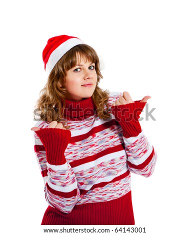 gesturing beautiful woman in christmas hat - stock photo