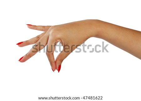 gesturing female hand with red nail polish