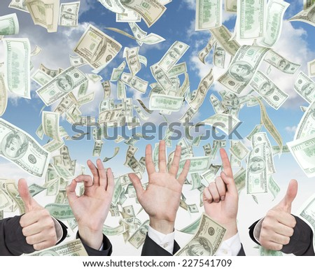 Gesturing hands and falling money