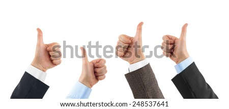Gesturing thumb hands isolated on white background - stock photo