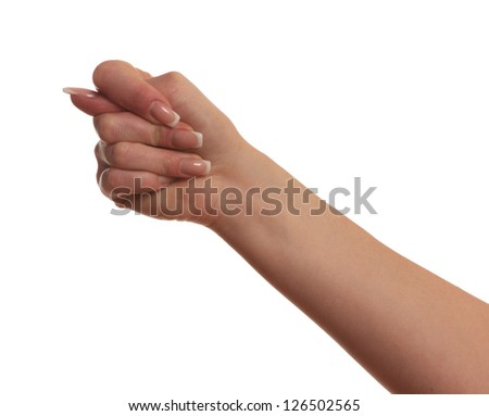 Gesturing with finger hand, isolated on white background - stock photo