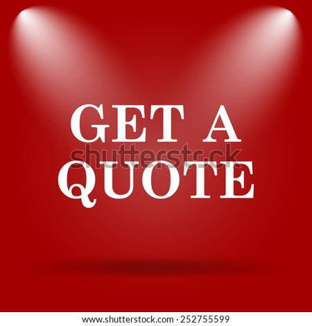 Get a quote icon. Flat icon on red background.  - stock photo