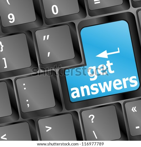 get answers concept on the modern keyboard, raster - stock photo