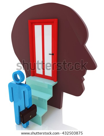 Get inside your mind to create design-related information with the abstraction of thought. 3d illustration - stock photo