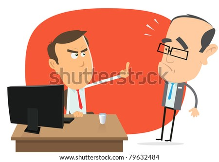 Get Out Of Here Boss !/ Illustration of a cartoon office scene in everyday life, with employee insulting his stupid boss - stock photo