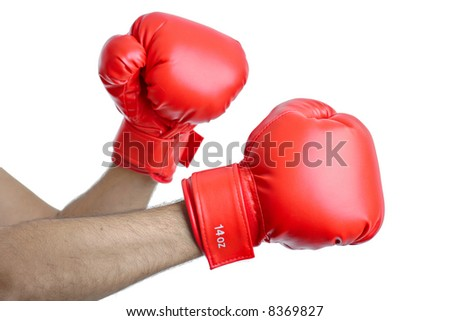 Get ready for a fight-Boxer against white background - stock photo