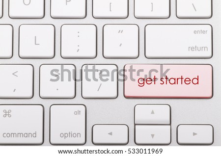 Get started word written on computer keyboard.