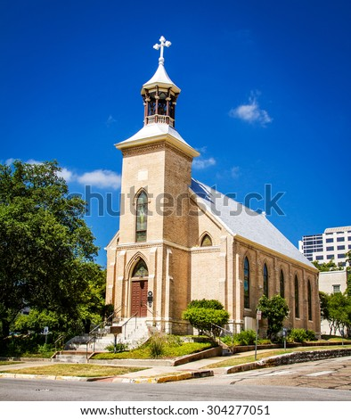 Gethsemane Lutheran Church, a historic Lutheran church in downtown Austin, Texas. - stock photo