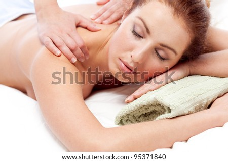 Getting a massage. - stock photo