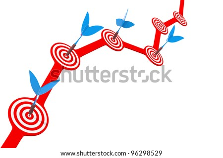 Getting accurate darts at a target located on the diagram - stock photo