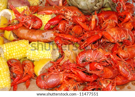 Getting Crayfish ready to boil at a cookout with selective DOF - stock photo