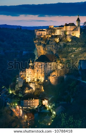 Getting dark in the village of Rocamadour - stock photo