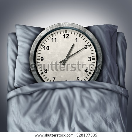 Getting enough sleep concept or sleeping trouble symbol as a clock in bed on a pillow as a metaphor for resting and needed relaxation for a healthy mind and body or appointment  schedule stress. - stock photo