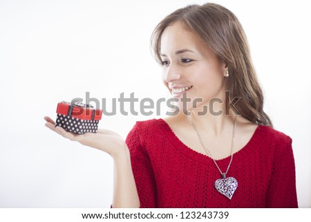 Getting gifts on valentine's day - stock photo