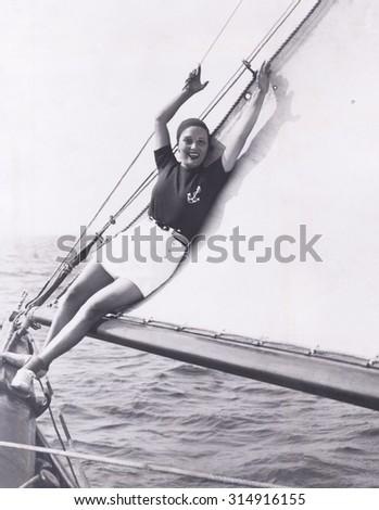 Getting her sea legs - stock photo