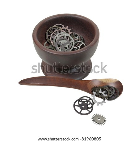 Getting in gear for breakfast shown by a bowl and spoon with a variety of gears with interlinking teeth and cogs - path included