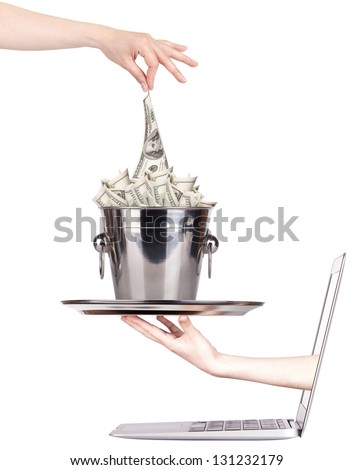 Getting money from laptop monitor screen - On-line Transaction, On-line Banking theme. Isolated on white - stock photo